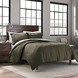 Garment Washed Solid Twin/Twin XL Comforter Set in Army Green
