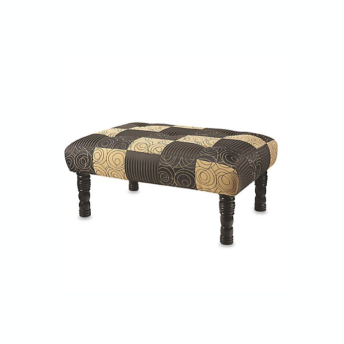 Alternate image 1 for Swirl and Stripe Ottoman in Black and Tan