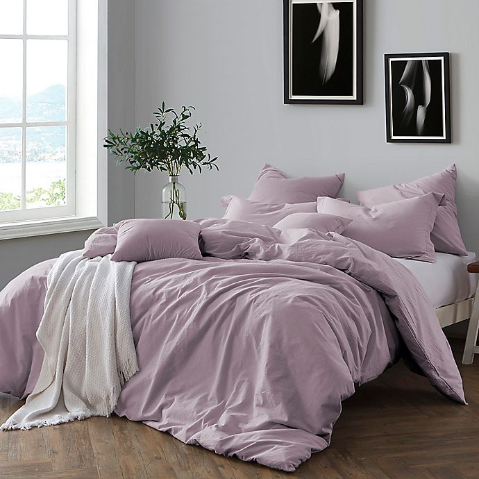 Alternate image 1 for Swift Home Prewashed Yarn-Dyed Cotton 3-Piece Full/Queen Duvet Cover Set in Lavender