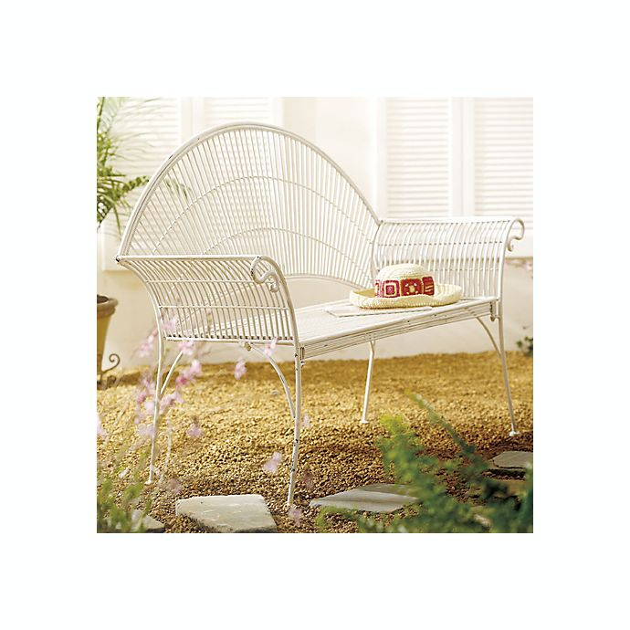 Groovy Antique White Wire Garden Bench Bed Bath Beyond Pabps2019 Chair Design Images Pabps2019Com