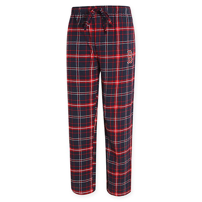 Alternate image 1 for MLB Boston Red Sox Men's Small Flannel Plaid Pajama Pant with Left Leg Team