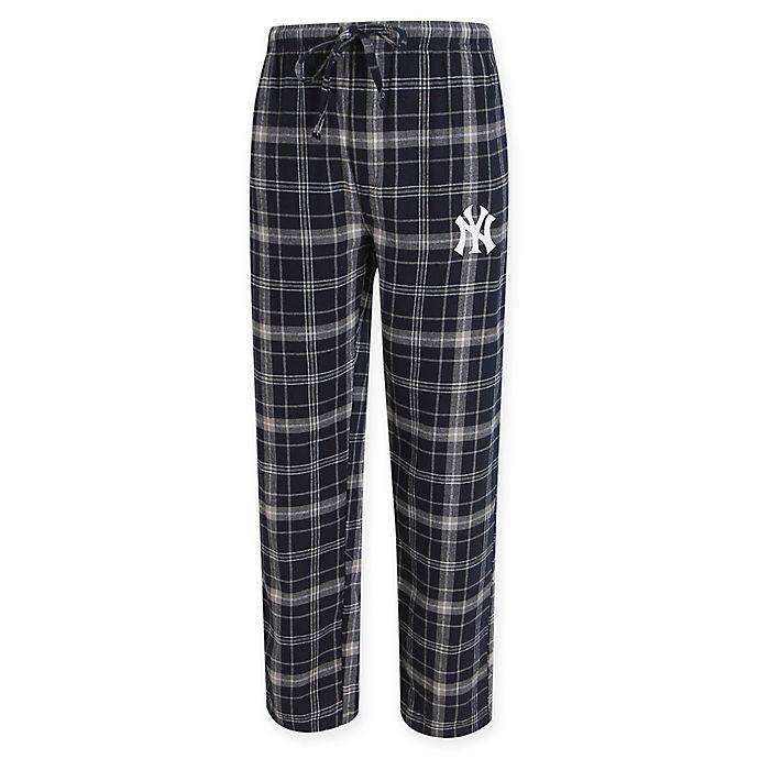 c63dd22412a MLB New York Yankees Men s Flannel Plaid Pajama Pant with Left Leg Team Logo