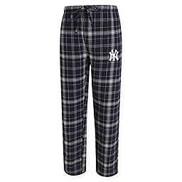MLB New York Yankees Men's Flannel Plaid Pajama Pant with Left Leg Team Logo