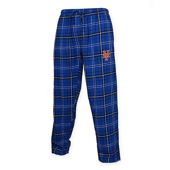 Alternate image 1 for MLB New York Mets Men's Extra-Large Flannel Plaid Pajama Pant with Left Leg Team Logo