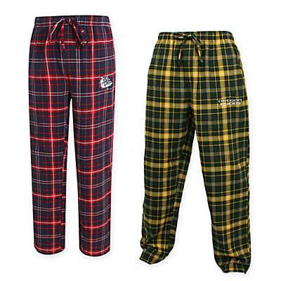 Collegiate Men's Flannel Plaid Pajama Pant with Left Leg Team Logo