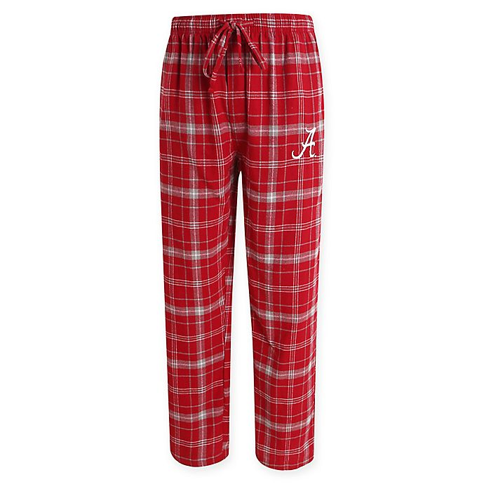 Alternate image 1 for University of Alabama Men's Medium Flannel Plaid Pajama Pant with Left Leg Team Logo