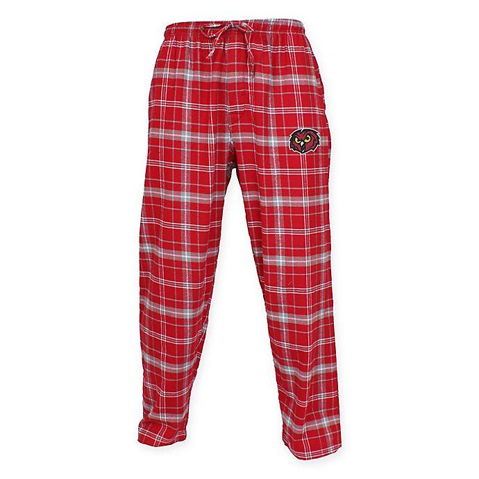 Alternate image 1 for Temple University Men's Small Flannel Plaid Pajama Pant with Left Leg Team Logo