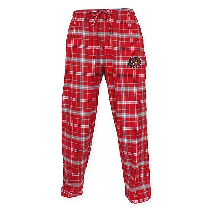Alternate image 1 for Temple University Men's Medium Flannel Plaid Pajama Pant with Left Leg Team Logo