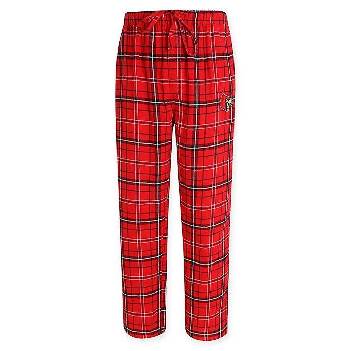 Alternate image 1 for University of Louisville Men's Flannel Plaid Pajama Pant with Left Leg Team Logo