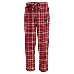 Florida State University Men's Flannel Plaid Pajama Pant with Left Leg Team Logo