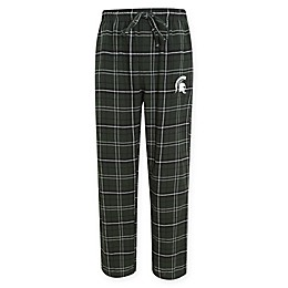 Michigan State University Men's Flannel Plaid Pajama Pant with Left Leg Team Logo