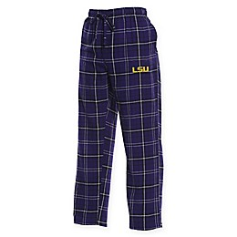 Louisiana State University Men's Flannel Plaid Pajama Pant with Left Leg Team Logo