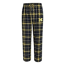 University of Michigan Men's Flannel Plaid Pajama Pant with Left Leg Team Logo
