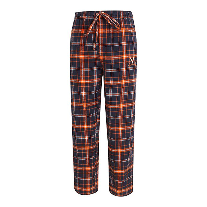 Alternate image 1 for University of Virginia Men's Flannel Plaid Pajama Pant with Left Leg Team Logo