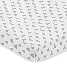 Sweet Jojo Designs Earth and Sky Triangle Print Fitted Mini-Crib Sheet in Grey