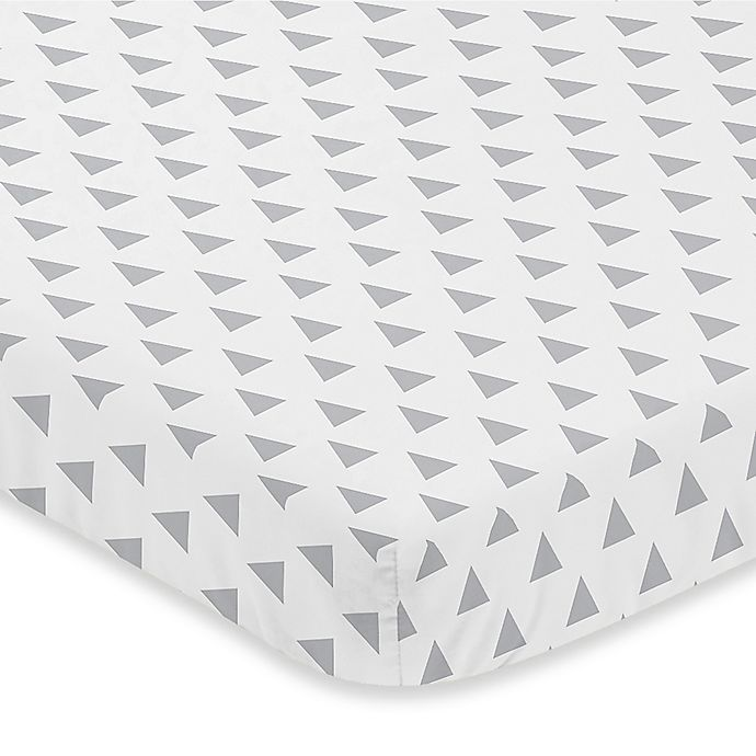 Alternate image 1 for Sweet Jojo Designs Earth and Sky Triangle Print Fitted Mini-Crib Sheet in Grey
