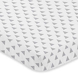Sweet Jojo Designs Earth and Sky Triangle Print Fitted Mini-Crib Sheet in Grey
