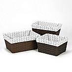 Sweet Jojo Designs Forest Deer Leaf Print Basket Liners (Set of 3)