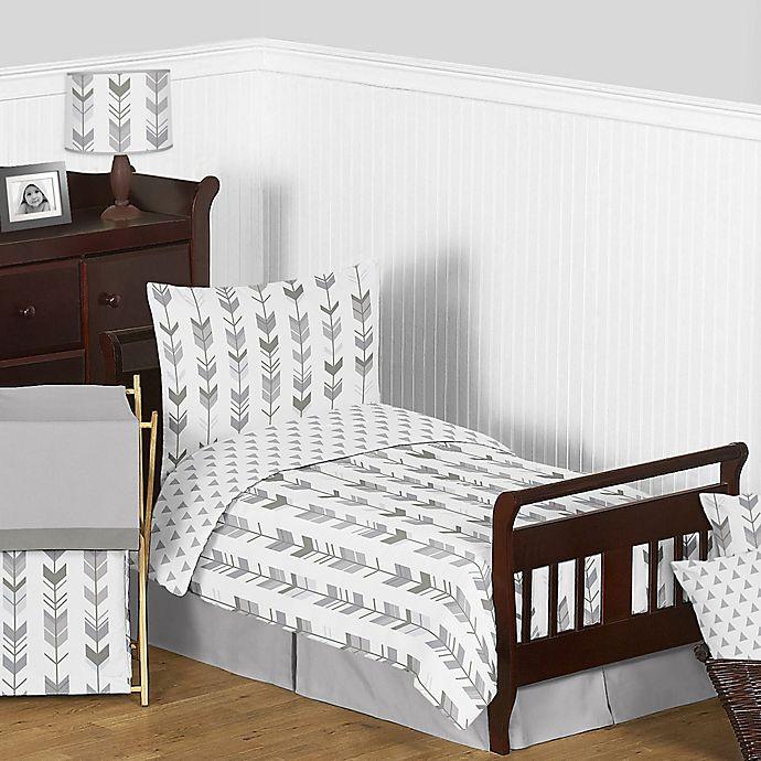 Alternate image 1 for Sweet Jojo Designs Mod Arrow 5-Piece Toddler Bedding Set in Grey/White