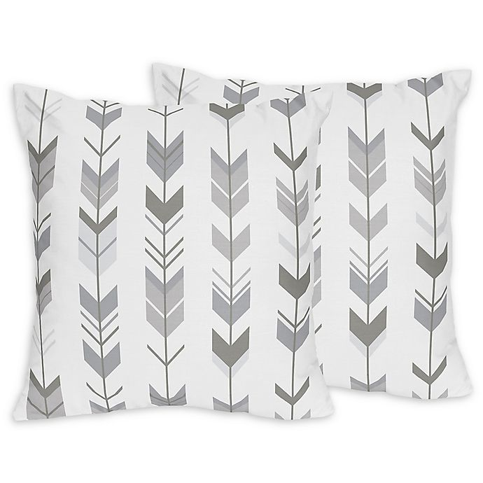 Alternate image 1 for Sweet Jojo Designs Mod Arrow Print Throw Pillows in Dark Grey/Grey (Set of 2)