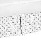 Sweet Jojo Designs Woodsy Swiss Cross Print Crib Skirt in Grey/White