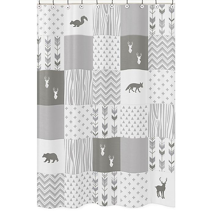 Sweet Jojo Designs Woodsy Shower Curtain In Grey White View A Larger Version Of This Product Image