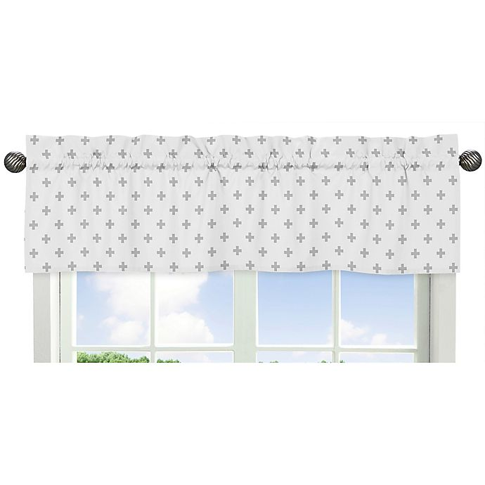 Alternate image 1 for Sweet Jojo Designs Woodsy Swiss Cross Print Window Valance in Grey/White