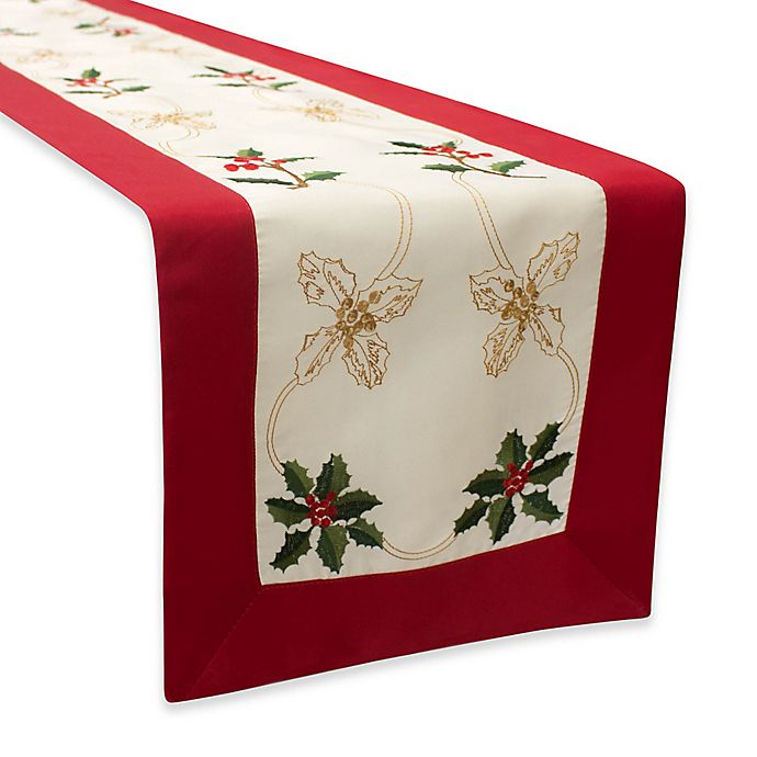 Alternate image 1 for Holly Berries Embroidered Table Runner