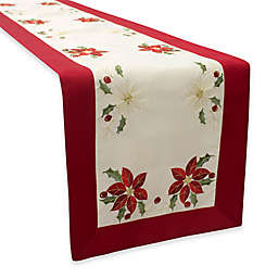 Creative Home Ideas Poinsettia Embroidered Table Runner and Topper