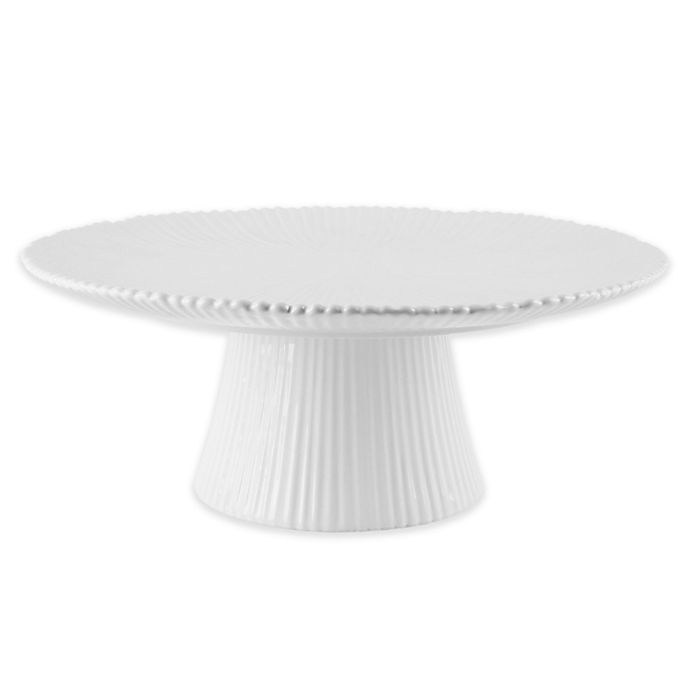 Alternate image 1 for Home Essentials & Beyond 14-Inch Round Ribbed Cake Stand