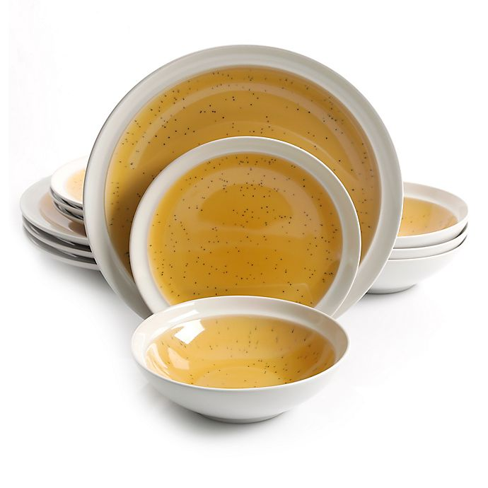 Alternate image 1 for Gibson Elite Clementine 12-Piece Dinnerware Set in Amber/White
