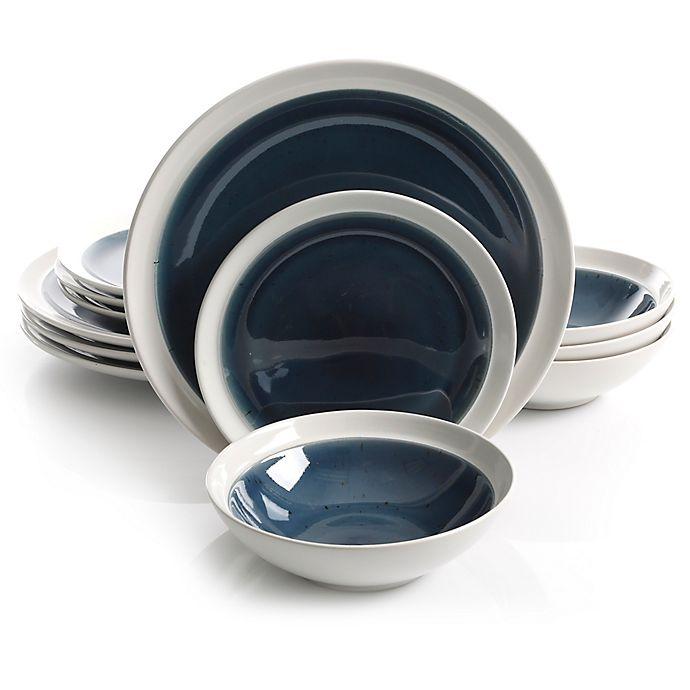 Alternate image 1 for Gibson Elite Clementine 12-Piece Dinnerware Set in Blue/White