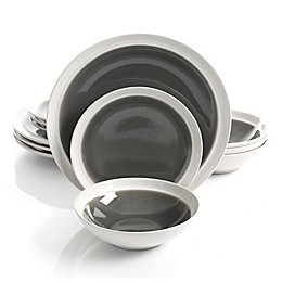 Gibson Elite Clementine 12-Piece Dinnerware Set in Grey/White