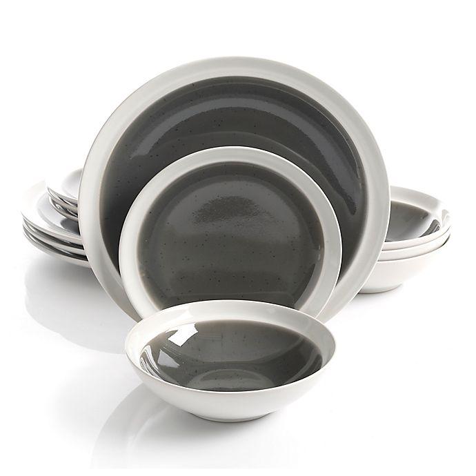 Alternate image 1 for Gibson Elite Clementine 12-Piece Dinnerware Set in Grey/White