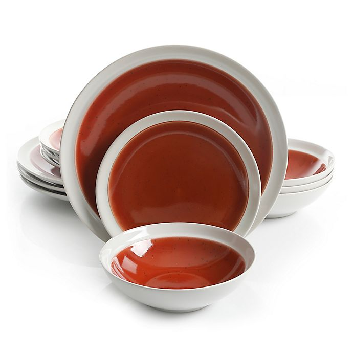 Alternate image 1 for Gibson Elite Clementine 12-Piece Dinnerware Set in Red/White