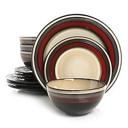 Gibson Elite Everston 12-Piece Dinnerware Set in Red/Cream