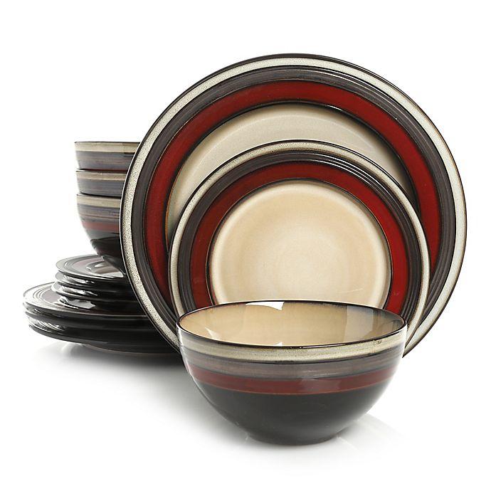 Alternate image 1 for Gibson Elite Everston 12-Piece Dinnerware Set in Red/Cream