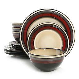 Gibson Elite Everston 12-Piece Dinnerware Set in Red/Cream