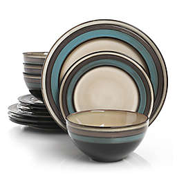 Gibson Elite Everston 12-Piece Dinnerware Set in Teal/Cream