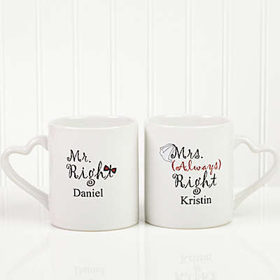 Mr. and Mrs. Right Lover's 2-Piece Mug Set in White