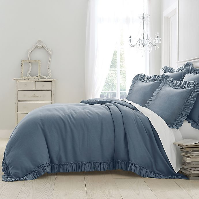 Alternate image 1 for Wamsutta® Vintage Gauze Ruffle King Duvet in Blue Jean