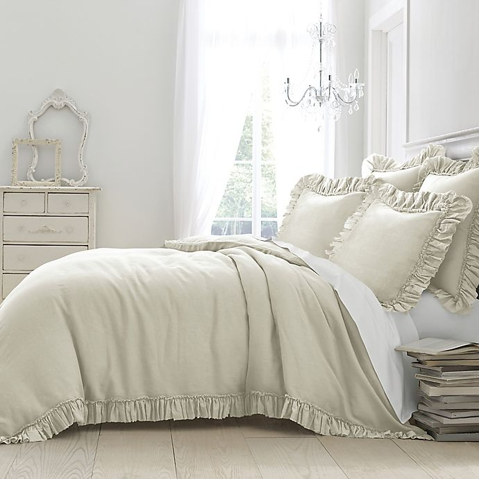 Alternate image 1 for Wamsutta® Vintage Gauze Ruffle Full/Queen Duvet in Oatmeal