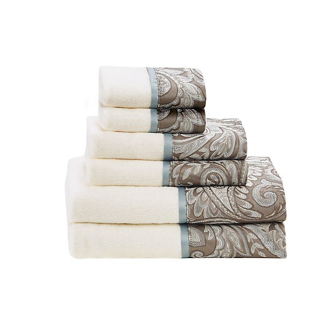 Alternate image 1 for Madison Park Aubrey Jacquard Bath Towels (Set of 6)