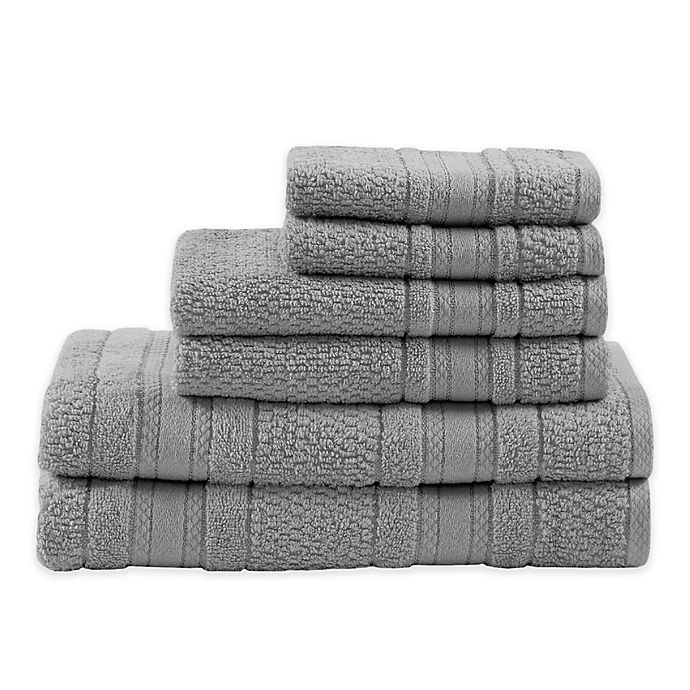 Alternate image 1 for Madison Park Essentials Adrien Bath Towels in Silver (Set of 6)