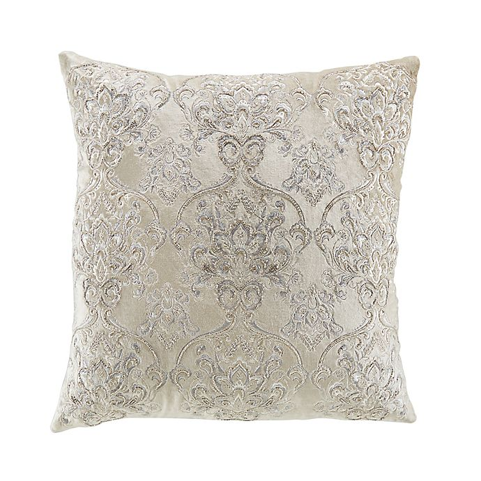 Alternate image 1 for Damask Beaded Square Throw Pillow in Sand