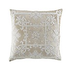 Damask Square Throw Pillow in Sand