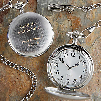 Wedding Day Engraved Silver Pocket Watch