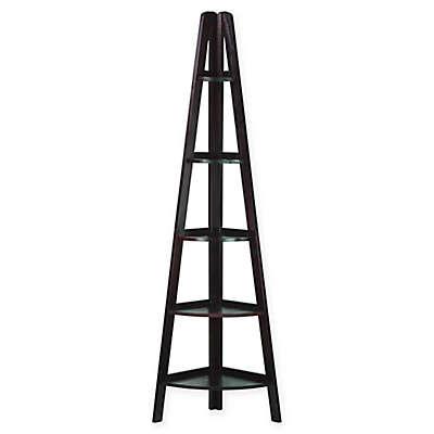5-Shelf Corner Ladder Bookcase in Espresso