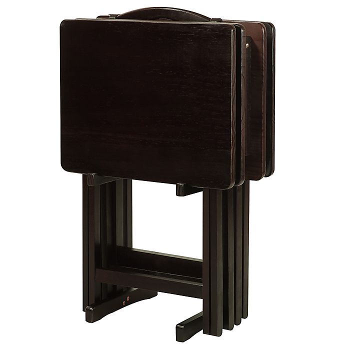 Alternate image 1 for 5-Piece Tray Table Set in Espresso
