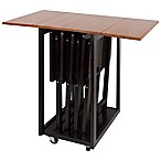 Casual Home Drop Leaf Table with 4 TV Trays in Mission Oak/Espresso